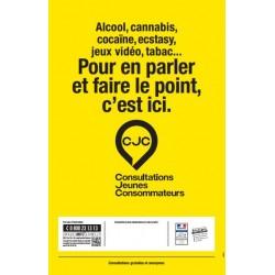 Alcool, cannabis, cocaïne, ecstasy, jeux vidéo, tabac... Pour en parler et faire le point, c'est ici. (Affiche)