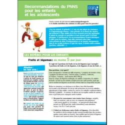 Recommandations du PNNS pour les enfants et les adolescents (Dépliant)