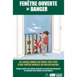 Fenêtre ouverte :Danger  (enfant cherchant à enjamber un balcon)