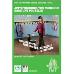 Virus respiratoires...Jette toujours ton mouchoir dans une poubelle. (Affiche)