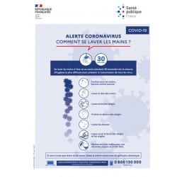 Alerte coronavirus : comment se laver les mains ? (Affiche)
