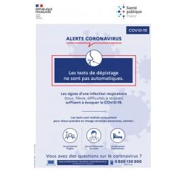 Alerte coronavirus : les tests de dépistage ne sont pas automatiques  (Affiche)