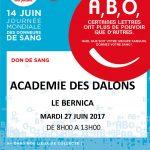 [27 juin 2017] Collecte de sang - Académie des dalons Le Bernica