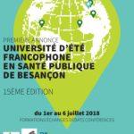 [1er au 6 juillet 2018] 15e édition de l'Université d'été francophone en santé publique de Besançon